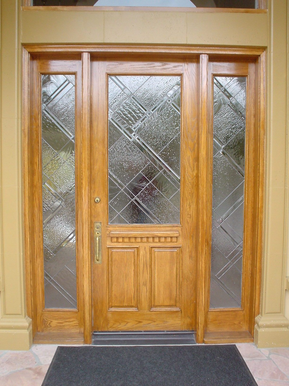 1632 #6F4320 Abstract Entry Door & Sidelites Architectural Stained Glass image Exterior Doors With Sidelites 40931224