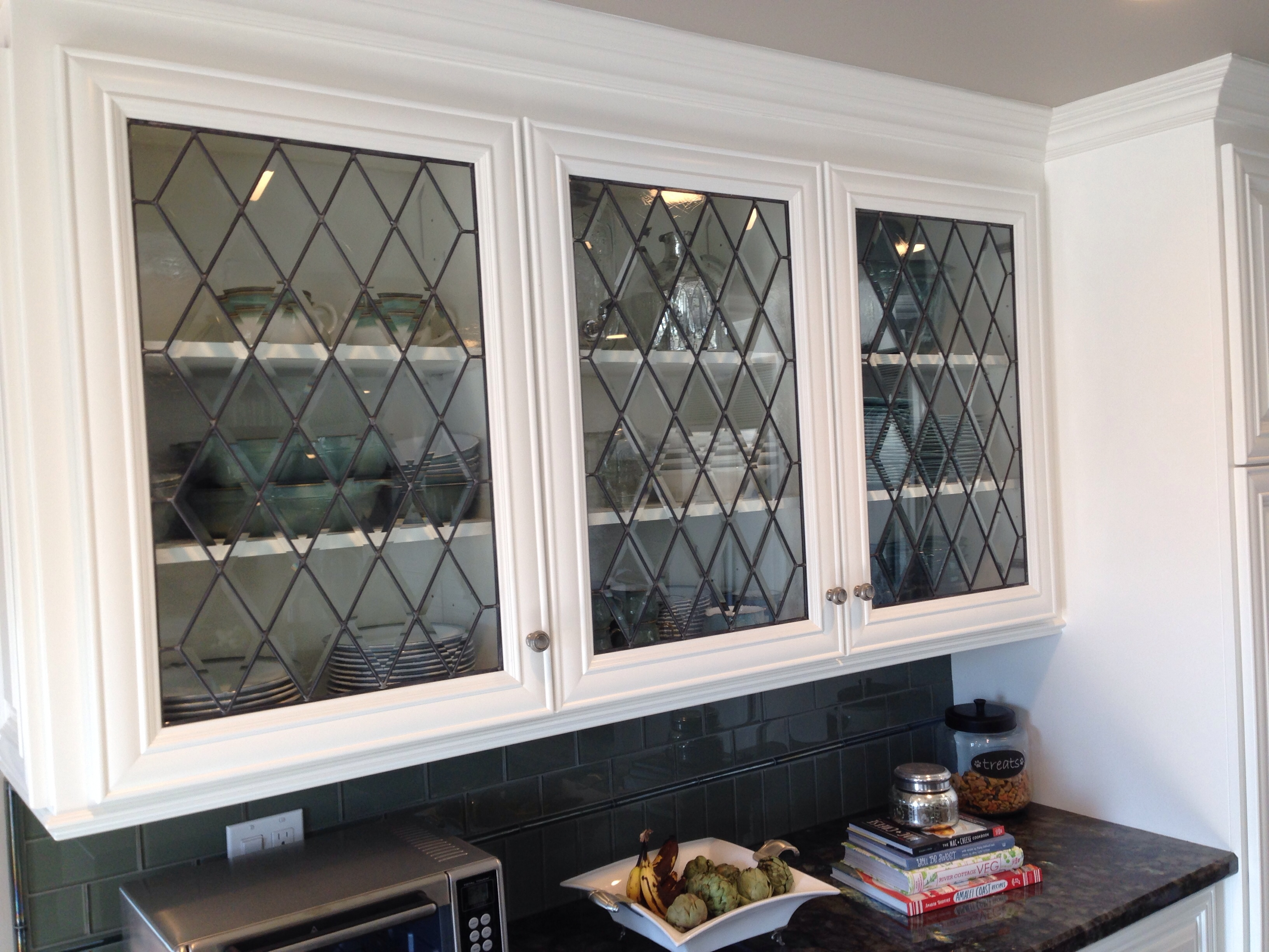 Kitchen Cabinet Doors With Diamond Bevels Architectural Stained Glass